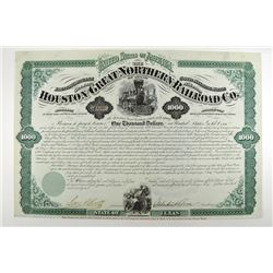 Houston & Great Northern Railroad Co., 1872 I/U Bond.