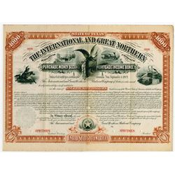 International and Great Northern Railroad Co., 1879 Unique Specimen Bond.