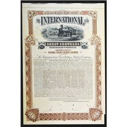 International and Great Northern Railroad Co., 1892 Specimen Bond with Matching Proof Vignette.