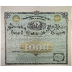 Fredericksburg, Orange and Charlottesville Rail Road Co., 1872 I/U Gold Coupon Bond.