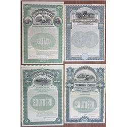 Southern Railway Co. Specimen Bond Quartet ca.1894 to 1904