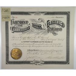 Fairmont and Clarksburg Electric Railroad Co., 1901 I/U Stock Certificate.