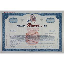 Atlanta Braves, Inc. ca.1960-70's Specimen Stock Certificate.
