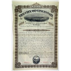 City of Cincinnati, 1885 Specimen Bond