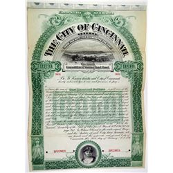 City of Cincinnati, 1897 Specimen Bond