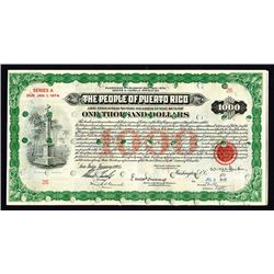 U.S. & Puerto Rico Federal Bond By BEP, 1935.