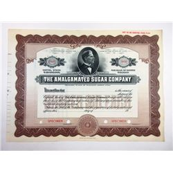 Amalgamated Sugar Co., ca.1900-1910 Specimen Stock Certificate with David Eccles Portrait.