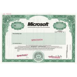 Microsoft, 1993 Specimen Stock Certificate with William H. Gates Facsimile Signature.