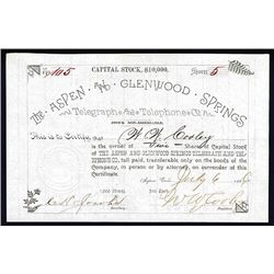 Aspen and Glenwood Springs Telegraph and Telephone Co. 1886 I/U Stock Certificate.
