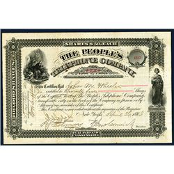 People's Telephone Co., 1883 I/U Stock Certificate