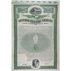 General Electric Co. 1912 Specimen Bond Rarity
