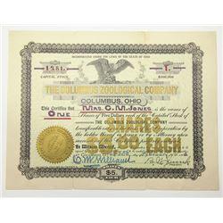 Columbus Zoological Company, 1903 I/U Stock Certificate