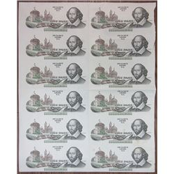 De La Rue Giori S.A. Lausanne. ND (ca.1970's-1980's). Uncut Sheet of 16 Shakespeare Advertising Note
