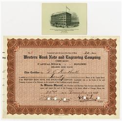 Western Bank Note & Engraving Co., 1913 I/C Stock Certificate #2 with WBNC Business Card