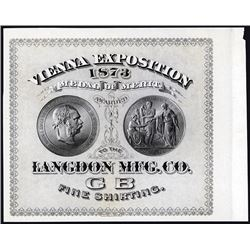 Vienna Exposition 1873 Medal of Merit Proof Textile Label From ABNC.