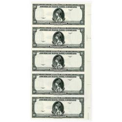 "American Bank Note Company, 1929 (ca.1970s), ""10 Denomination"" Specimen Note Vertical Proof Sheet of"