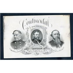 Continental Bank Note Company 1860-70's, Advertising Card on Coated Glossy Stock.
