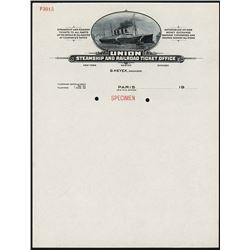 Union Steamship and Railroad Ticket Office Letterhead Specimen.