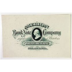 American Bank Note Co. Proof Business Card ca.1885.