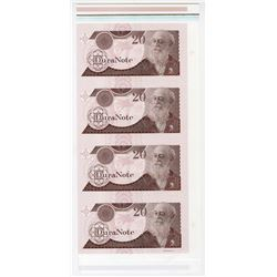 DuraNote, Charles Darwin, Uncut Vertical Strip of 4 notes, ND 1980-90's Specimens on DuraNote Polyme