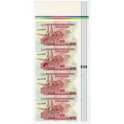 DuraNote, Oil Platform, Uncut Vertical Strip of 4 notes, ND 1980-90's Specimens on DuraNote Polymer