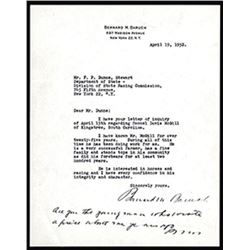 Bernard Baruch Signature on his Personal Letterhead