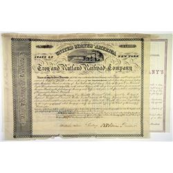 Troy & Rutland Railroad Company Bond Pair dated, 1851 and 1865, Signed by Jay Gould as Trustee