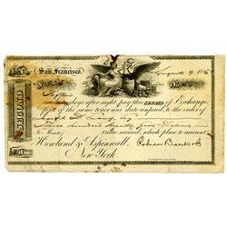 California Gold Rush Era, 1850 2nd Bill of Exchange.