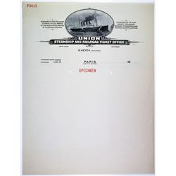 Union Steamship and Railroad Ticket Office Specimen Letterhead.