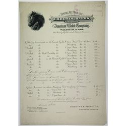 American Watch Company 1870-1890 Specimen Price List.