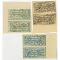 Nizam of Hyderabad. 1902, Trio of Process Fee Plate Proof Pairs.