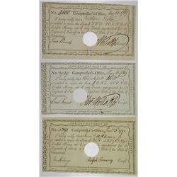 State of Connecticut, Comptroller's office 1789 & 1791 Revolutionary War Scrip Notes