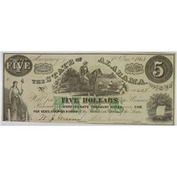 State of Alabama, 1864, Issued Banknote.