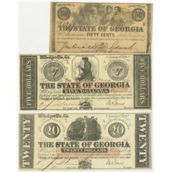 State of Georgia 1862 & 1863 Banknote Trio.