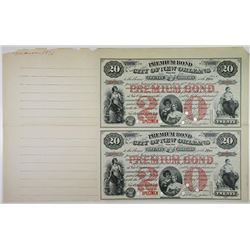 Premium Bond, The City of New Orleans, 1875 Specimen $20 Uncut sheet of 2.