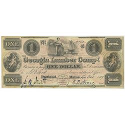 Georgia Lumber Co., 1839 Issued Obsolete Banknote.