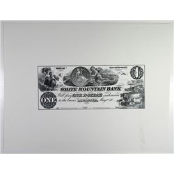 White Mountain Bank Large Die Production Proof, Obsolete Banknote ca.1970-80s