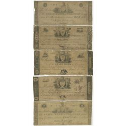 Trenton, NJ. State Bank at Trenton, 1812 to 1822 Obsolete Banknote Quintet.