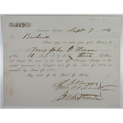 Saratoga Springs, September 1864 Civil War Military Relief Voucher for Families of Soldiers