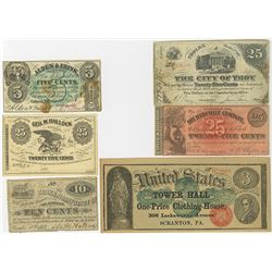 Northern States obsolete Scrip Note Sextet, ca.1862-70