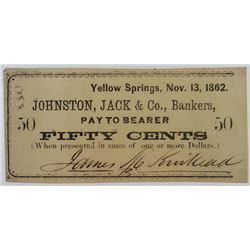 Johnston, Jack & Co., 1862 Issued Obsolete Scrip Note.