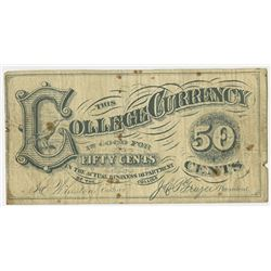 College Currency. 1860s. Issued Note.