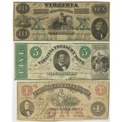 Virginia Treasury Note, 1862 Obsolete Banknote Trio.