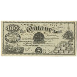 New York, The centaur Bank, ca.1870-80's Advertising Note.