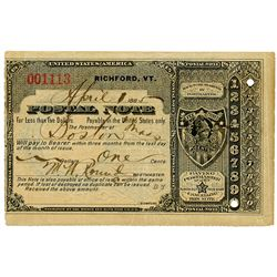 Richford, Vermont. April 1st, 1885 U.S. Postal Note for 1 Cent.