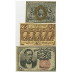 Fractional Currency Trio of 1860s Notes.