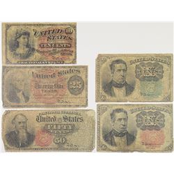 U.S. Fractional Currency, 1860s, Quintet U.S. Fractional Currency Notes.