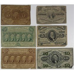 U.S. Fractional Currency, 1860s, Sextet of 1st & 3rd Issue U.S. Fractional Currency Notes.
