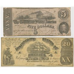 C.S.A. 1861 & 1862 Banknote Pair.