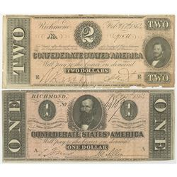 C.S.A. 1864 Banknote Pair.